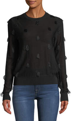 Christian Wijnants Kohino Crewneck Pullover Sweater w/ Fringe Details