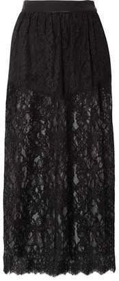 Fleur Du Mal Cotton-blend Lace Midi Skirt - Black