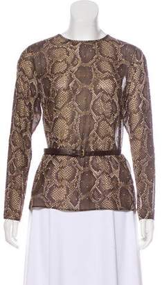 MICHAEL Michael Kors Snakeskin Print Studded Blouse w/ Tags