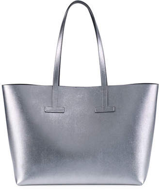 Tom Ford Small T Saffiano Tote Bag, Silver