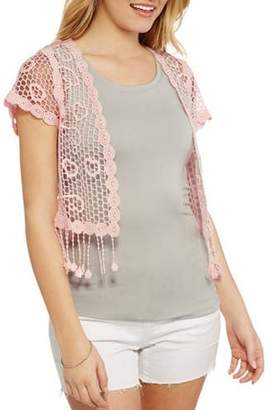 No Boundaries Juniors' Crochet Lace Shrug Cardigan