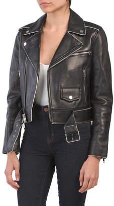 Shrunken Leather Moto Jacket