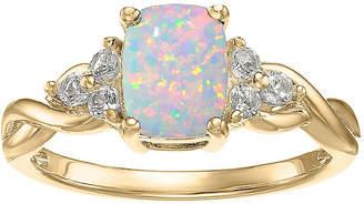 FINE JEWELRY Lab-Created Opal and Genuine White Topaz 10K Yellow Gold Cushion-Cut Twist Ring