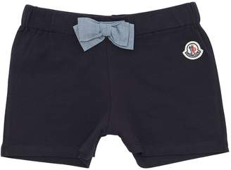 Moncler Cotton Jersey Shorts W/ Bow Detail