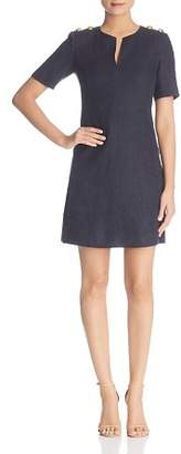 Tory Burch Hillary Linen Logo-Button Dress
