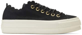 Converse Black Suede Chuck Taylor All Star Lift Frilly Thrills Sneakers