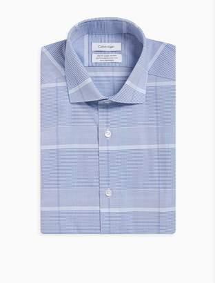 Calvin Klein steel slim fit blue plaid dress shirt