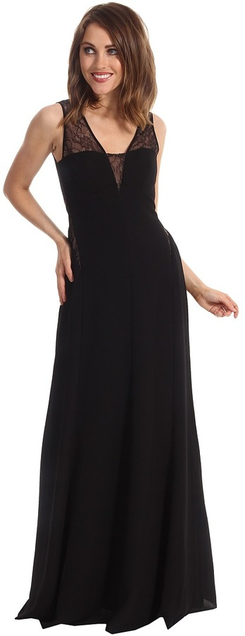 Max & Cleo Ariel Lace and Crepe Gown (Black) - Apparel