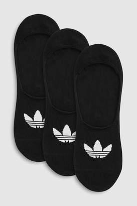 adidas Mens Adults No Show Socks 3 Pack - Black