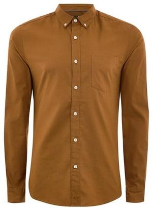 Topman Mens Yellow Mustard Stretch Skinny Oxford Shirt