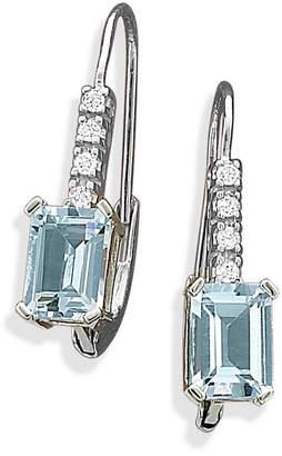 FINE JEWELRY Aquamarine & Diamond Accent Leverback Earrings 10K