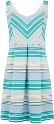 Next Womens Oasis Blue Stripe Skater Dress