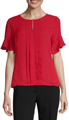 Liz Claiborne S19 Ss Ruffle Woven Top Womens SplitvCrew Neck Short Sleeve Blouse