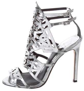 Brian Atwood Metallic Laser Cut Sandals