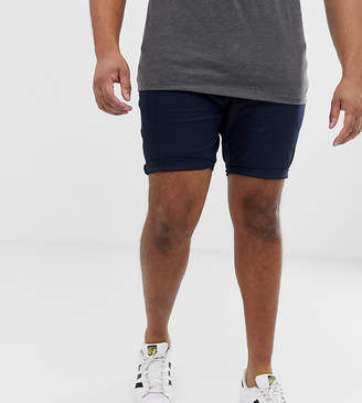 Asos Design PLUS Skinny Chino Shorts In Navy
