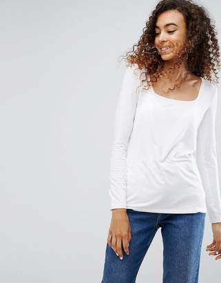 Asos Top with Square Neck and Long Sleeve