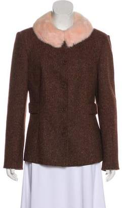 Blumarine Fur Collar Tweed Blazer