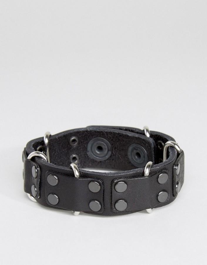 DieselDiesel A-Carez Studded Leather Bracelet