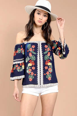 Mine Tropical Navy Blouse