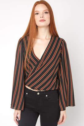 Do & Be Do + Be Stripe Surplice Bell Sleeve Blouse