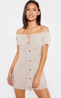 PrettyLittleThing Stone Button Through Ruched Bardot Shift Dress