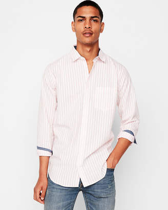Express Slim Soft Wash Striped Dress Shirt