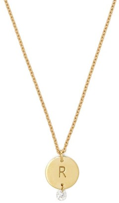 Raphaele Canot Set Free 18kt Gold & Diamond R Charm Necklace - Womens - Gold