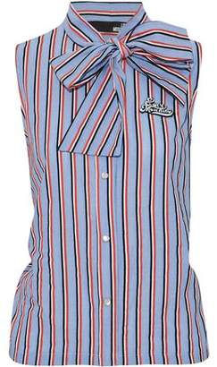 Love Moschino Pussy-Bow Appliquéd Striped Cotton-Poplin Top