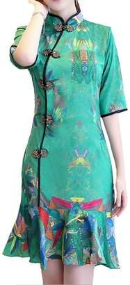 YueLian Womens 3/4 Sleeve Summer Modified Chinese Lady Qipao Short Fishtail Dress