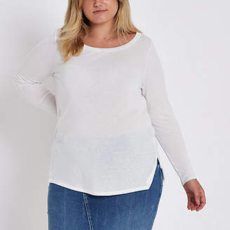 River Island Plus white long sleeve jersey T-shirt