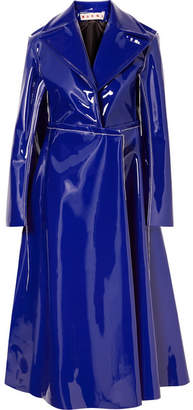 Marni Faux Patent-leather Coat - Purple