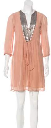 French Connection Embellished Silk Dress
