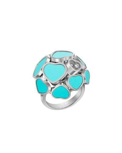 Chopard Chopard Happy Hearts 18k White Gold Turquoise & Diamond Ring, Size 53