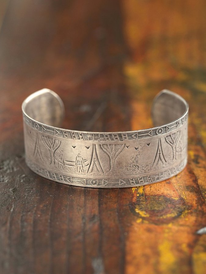 Free People Vintage Textured Silver Cuff
