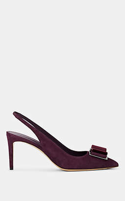 Salvatore Ferragamo Women's Zahir Suede Slingback Pumps - Dk. Purple