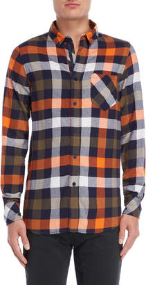 Imperial Star Orange Plaid Pocket Shirt