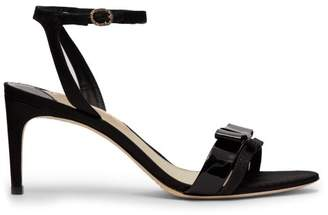 Sophia Webster Andie Bow Trim Moire Sandals - Womens - Black