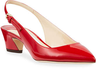 Jimmy Choo Gemma Low-Heel Patent Slingback Pumps