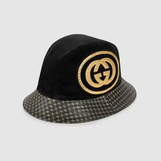 Gucci Dapper Dan GG leather hat