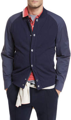 Brunello Cucinelli Contrast-Sleeve Baseball Jacket