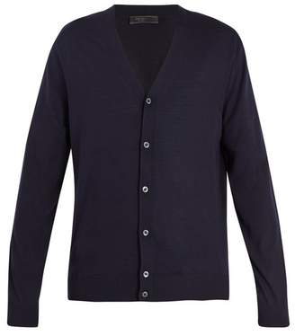 Prada Long Sleeved Button Front Wool Cardigan - Mens - Navy
