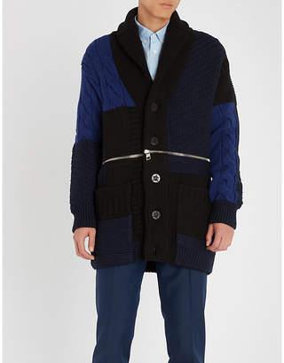 Alexander McQueen Mixed-knit wool cardigan