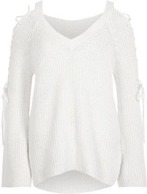 River Island River Island Womens White ribbed knit tie sleeve V neck jumper
