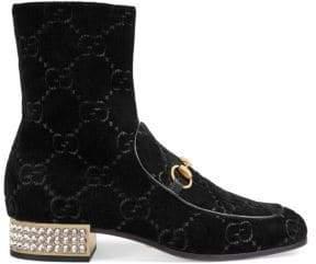 Gucci Horsebit GG Crystal Velvet Ankle Boots