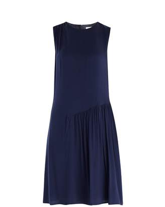 PAISIE - Shift Dress with Gathered Shoulder & Side Panel in Navy