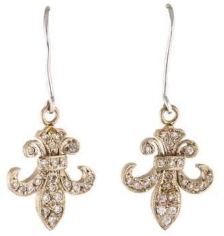 14K Diamond Fleur de Lis Drop Earrings