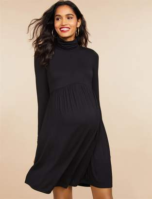 c04bfe5c49c63 Motherhood Maternity Fit And Flare Turtleneck Maternity Dress