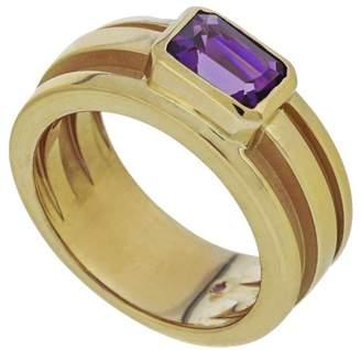 Tiffany & Co. 18K Yellow Gold Emerald Cut Bezel Set Amethyst Ring Size 6.25