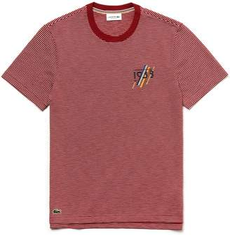 fa2e6e16d1 Lacoste Men's Crew Neck 1933 Lettering Striped Cotton Jersey T-shirt