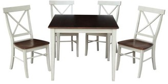 "INC International Concepts 36"" Square Dining Table with 4 X-back Chairs in Antiqued Almond/Espresso - 5 Piece Set"